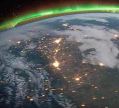Aurora Borealis and eastern United States at Night