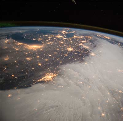 Great Lakes and Central U.S. at night