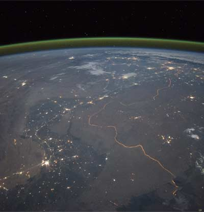 India-Pakistan Border at Night